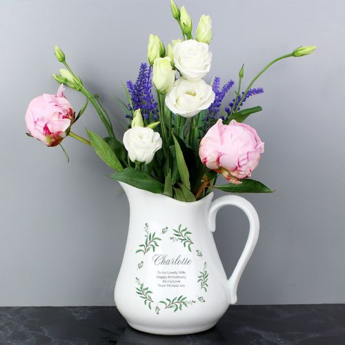 Personalised French Country Flower Jug Gift For Mothers Day & Birthdays